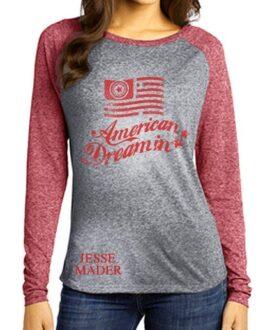 jesse-mader-urban-rock-american-dreamin-baseball-red-grey-shirt-women