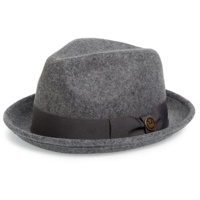 Dr-Tumbletys-Apothecary-inspired-by-spirits-distilling-company-Pittsburgh-goorin-bros-hat-fedora-wool-charcoal-grey-black-gangster-grosgrain-good-boy-black-band-pinched-tear-drop-short-brim-curled
