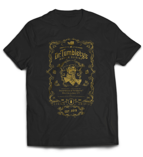 Dr-Tumbletys-Apothecary-inspired-by-spirits-distilling-company-Pittsburgh-tee-shirt-tshirt-flat-black-gold-logo