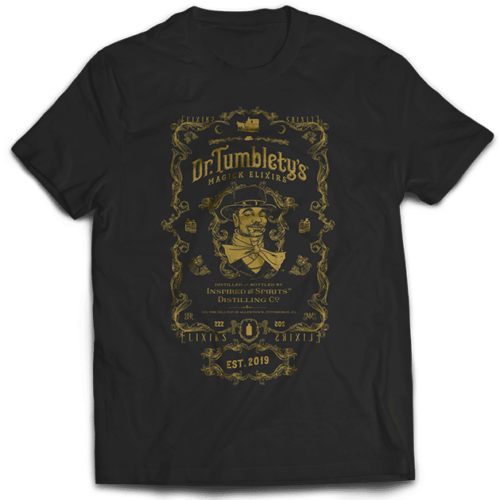 Dr-Tumbletys-Apothecary-inspired-by-spirits-distilling-company-Pittsburgh-tee-shirt-tshirt-flat-black-gold-logo