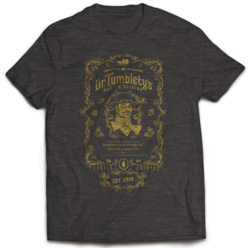 Dr-Tumbletys-Apothecary-inspired-by-spirits-distilling-company-Pittsburgh-vintage-black-tee-shirts-classic-gold-lustre