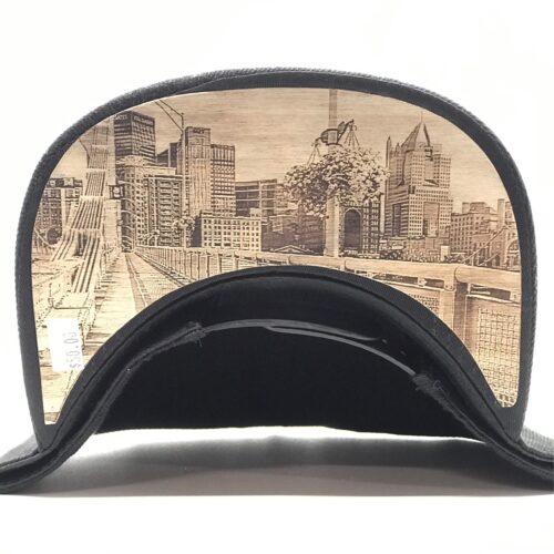 Dr-Tumbletys-Apothecary-inspired-by-spirits-distilling-company-Pittsburgh-yinz-lidz-flatbill-flat-bill-snapback-andy-warhol-bridge-gold-white-logo-downtown-wood-burnt