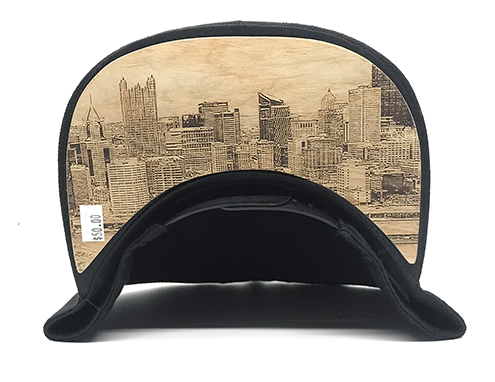 Dr-Tumbletys-Apothecary-inspired-by-spirits-distilling-company-Pittsburgh-yinz-lidz-flatbill-flat-bill-snapback-skyline-blue-logo-pgh-wood-burnt