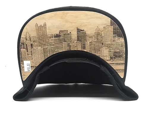 Dr-Tumbletys-Apothecary-inspired-by-spirits-distilling-company-Pittsburgh-yinz-lidz-flatbill-flat-bill-snapback-skyline-blue-logo-pgh-wood-burnt