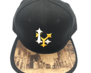 Dr-Tumbletys-Apothecary-inspired-by-spirits-distilling-company-Pittsburgh-yinz-lidz-flatbill-flat-bill-snapback-warrington-avenue-2019-allentown-hilltop-beltzhoover-knoxville-gold-white-logo-wood-burnt