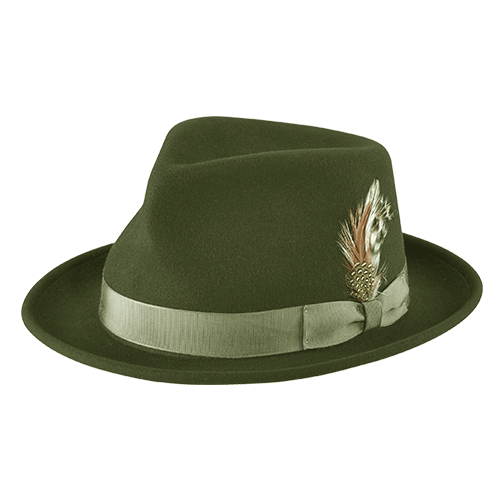 Dr-Tumbletys-Apothecary-Inspired-by-Spirits-Distilling-Co-New-York-Hat-and-Cap-Company-Pittsburgh_Hat_the-fedora-olive-al-capone-roaring-20s-gangster-short-brim-curled-green-band-feather-pinched-teardrop-wool-lite-felt