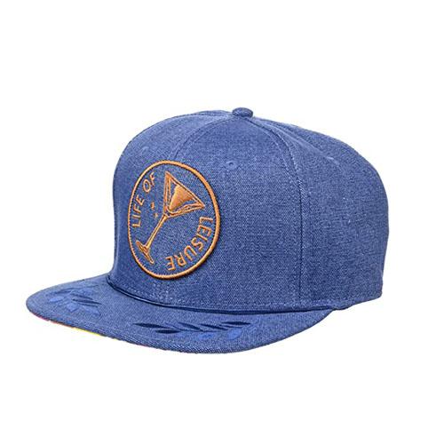 Dr-Tumbletys-Apothecary-Inspired-by-Spirits-Distilling-Co-Goorin-Bros-Pittsburgh_Allentown-Hilltop_Meeting-Street-six-panel-martini-glass-life-of-leisure-baseball-ball-cap-blue-denim-gold-flat-brim-hat
