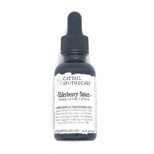 Dr-Tumbletys-apothecary-inspired-by-spirits-distilling-co-pittsburgh-allentown-hilltop-cattail-apothecary-glass-bottle-tincture-vial-herbal-remedy-alternative-medicine-holistic-natural-treatment-elderberry-spice-double-extraction-alcohol-clove-cinnamon-star-anise-cough-fever-upper-respiratory-infection-analgesic-tonic-flu-cold-season