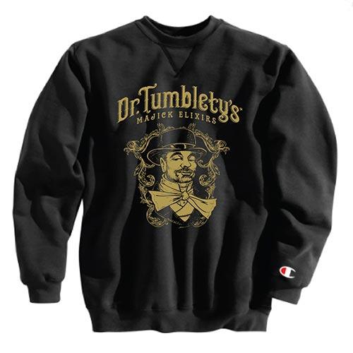 Dr. Tumblety's Classic Black Champion Crew Neck Sweatshirt